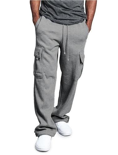 calças de moletom de lã masculina de carga quente e calças grossas de primavera&calça de queda