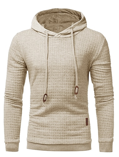 Hanorac pentru bărbați hipster gym cu mânecă lungă cu șiret cu glugă, cu glugă, cu jachetă, cu carouri, gri închis, mediu
