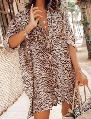 여성용 블라우스 셔츠 레오파드 긴 소매 프린트 셔츠 카라 탑스 브라운