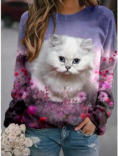여성용 후드 맨투맨 스웻티셔츠 고양이 그래픽 3D 프린트 일상 3D 인쇄 베이직 캐쥬얼 후드 스웨트 셔츠 퍼플