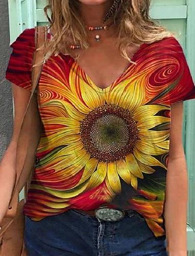여성용 플러스 크기 탑스 T 셔츠 플로럴 그래픽 프린트 짧은 소매 V 넥 큰 사이즈 / 루즈핏