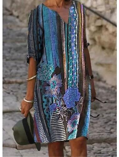Női A vonalú ruha Térdig érő ruha Medence Sárga Rubin Féhosszú Virágos Nyomtatott Tavasz Nyár V-alakú Alkalmi Bő 2021 S M L XL XXL 3XL