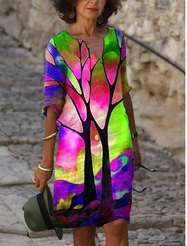 Női A vonalú ruha Térdig érő ruha Bíbor Arcpír rózsaszín Lóhere Háromnegyedes Nyomtatott Nyomtatott Ősz Tavasz V-alakú Alkalmi Bő 2021 S M L XL XXL 3XL
