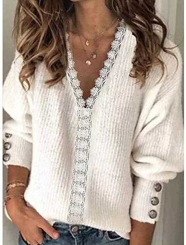Γυναικεία Πουλόβερ Πλεκτό Δαντέλες Συμπαγές Χρώμα Στυλάτο Μακρυμάνικο Πουλόβερ ζακέτες Λαιμόκοψη V Φθινόπωρο Χειμώνας Λευκό