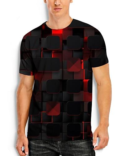 Herre T-shirt 3D-udskrivning Grafisk 3D Print 3D Trykt mønster Kortærmet Daglig Toppe Sort / Rød