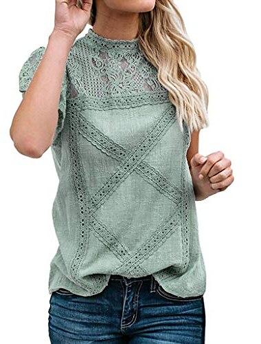 γυναικεία μπλούζα από μασίφ δαντέλα απλό δαντέλα συνονθύλευμα φούτερ με κοντό μανίκι, χαριτωμένες φλοράλ μπλούζες για κυρίες πράσινο