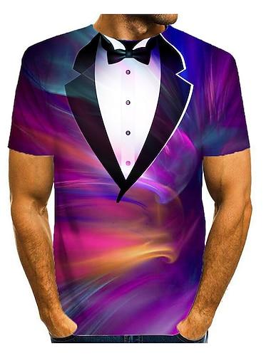 Herre T-shirt 3D-udskrivning Regnbue Grafisk 3D Trykt mønster Kortærmet Daglig Toppe Regnbue