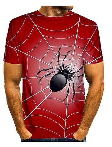 Hombre Camiseta Camisa Impresion 3D Grafico 3D Animal Estampado Manga Corta Diario Tops Casual Escote Redondo Vino Azul Piscina Rojo