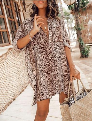 Γυναικεία Φόρεμα πουκαμίσα Μίνι φόρεμα Χακί Μακρυμάνικο Λεοπάρ Leopard Εκτύπωση Κουμπί Άνοιξη Καλοκαίρι Κολάρο Πουκαμίσου Καθημερινό Σέξι φορέματα διακοπών Φανάρι μανίκι 2021 Τ M L XL XXL