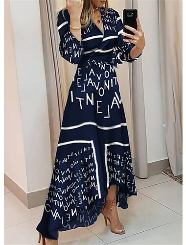 Women\'s Swing Dress Maxi long Dress Blue White 3/4 Length Sleeve Print Letter Patchwork Print Spring Summer V Neck Elegant Casual Going out vacation dresses 2021 S M L XL XXL 3XL