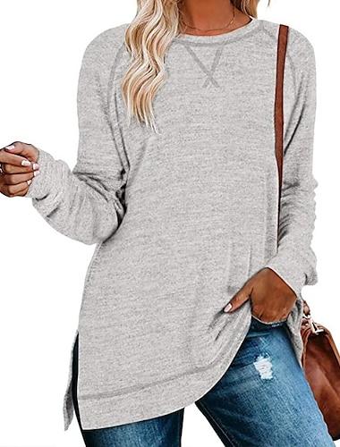 여성용 T 셔츠 플레인 긴 소매 라운드 넥 탑스 베이직 기본 탑 블랙 푸른 루비