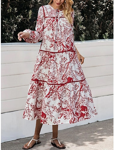 Women\'s Swing Dress Midi Dress Red Long Sleeve Print Print Fall Winter Round Neck Casual Vintage Going out Lantern Sleeve 2021 S M L XL