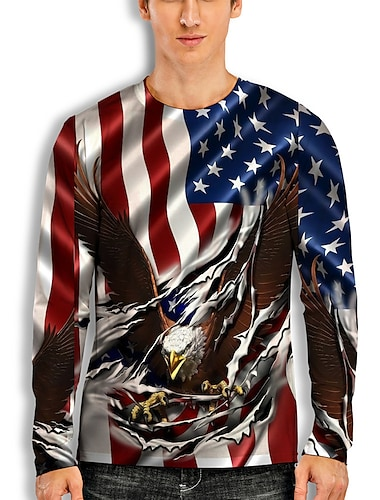 Men\'s T shirt 3D Print Graphic Animal Print Long Sleeve Daily Tops Basic Casual White Blue Red