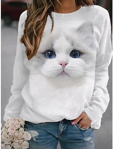 여성용 후드 맨투맨 스웻티셔츠 고양이 그래픽 3D 프린트 일상 3D 인쇄 베이직 캐쥬얼 후드 스웨트 셔츠 그레이 화이트 브라운