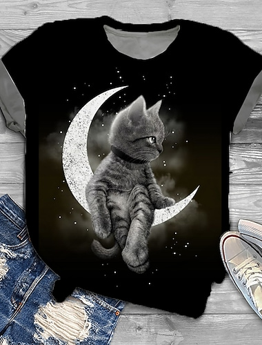 여성용 플러스 크기 탑스 T 셔츠 고양이 그래픽 3D 프린트 짧은 소매 라운드 넥 큰 사이즈 / 플러스 사이즈