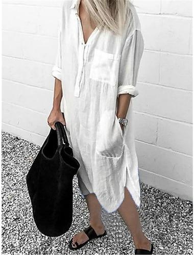 Women\'s Shirt Dress Midi Dress Blue Yellow Gray White Red Light Blue Long Sleeve Solid Color Split Pocket Patchwork Fall Spring Shirt Collar Casual Loose 2021 S M L XL XXL 3XL 4XL 5XL / Holiday