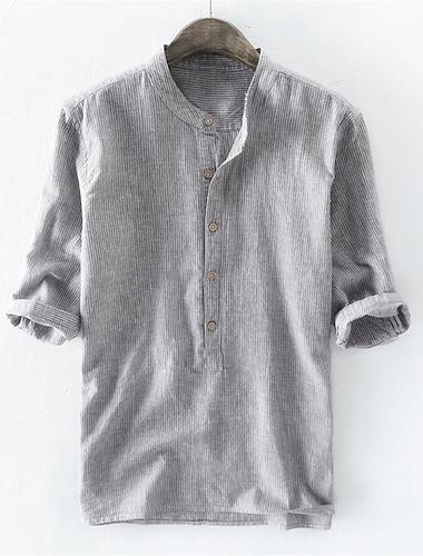 Per uomo Camicia non-stampa Tinta unita Bottone giu Con stampe Mezza manica Quotidiano Top 100% cotone Casuale Beige Grigio Azzurro / Estate