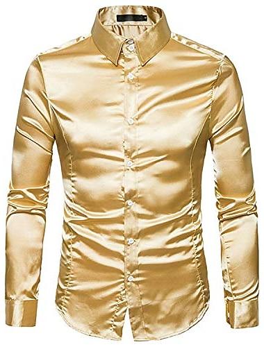 ανδρικά σατέν λεία ανδρικά μασίφ σμόκιν πουκάμισο επιχείρηση chemise γυαλιστερό χρυσό νυφικό πουκάμισα