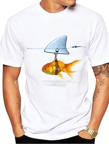Herre T-shirt Skjorte 3D-udskrivning Grafisk Fisk Dyr Trykt mønster Kortærmet Daglig Toppe Afslappet Sød Stil Rund hals Hvid / Sommer