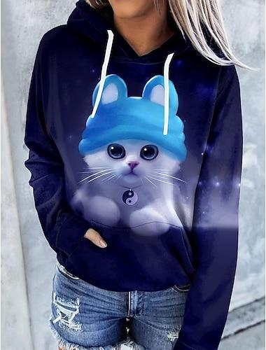 여성용 후드 풀오버 고양이 그래픽 3D 앞 주머니 프린트 일상 3D 인쇄 베이직 캐쥬얼 후드 스웨트 셔츠 네이비 블루