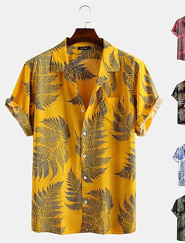 Men\'s Shirt 3D Print Plants Button-Down Print Short Sleeve Daily Tops Casual Hawaiian Yellow Blushing Pink Green / Summer
