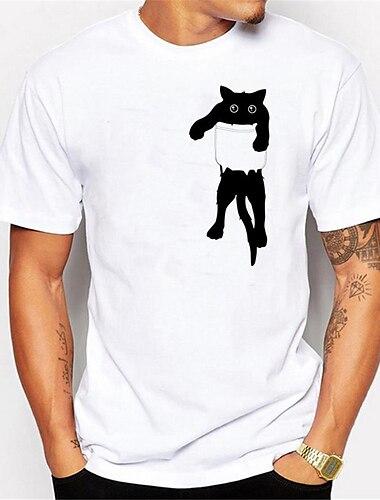 T-shirt Chemise Homme 3D effet Chat Graphique Animal Normal 1 pc Imprime Manches Courtes Quotidien Vacances Standard Polyester Simple Le style mignon Col Rond / Ete