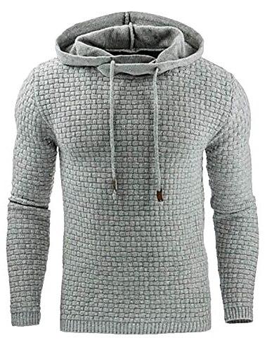 男性用フード付きシャツスクエアキルティング長袖無地メンズパーカースウェットシャツパッチディテールライトグレー