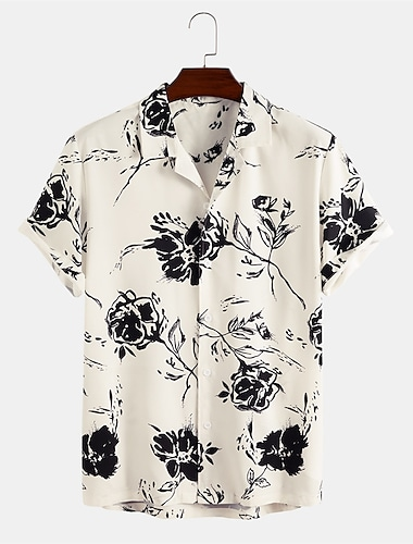 Men\'s Shirt Other Prints Floral Button-Down Short Sleeve Daily Tops Casual Beige / Summer