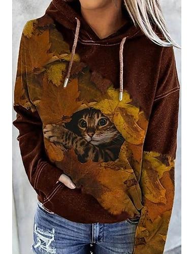 여성용 후드 풀오버 고양이 그래픽 3D 앞 주머니 프린트 일상 3D 인쇄 베이직 캐쥬얼 후드 스웨트 셔츠 브라운
