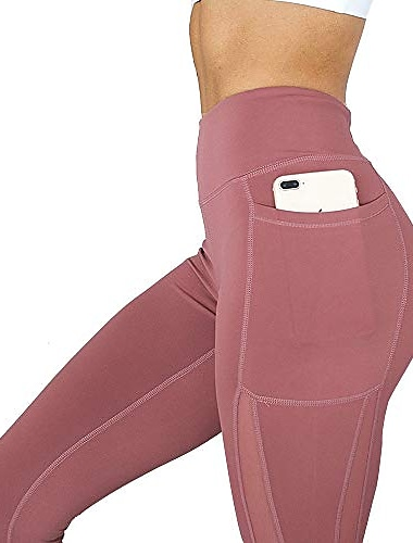 High Waist Solid Yoga Pants with Pocket, Soft Fitness Sport Running Leggings Gym Wear (red, XL)