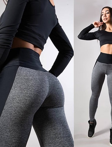 Women\'s High Waist Yoga Pants Seamless Tights Leggings Bottoms Tummy Control Butt Lift Moisture Wicking Fashion Blue Pink Gray Fitness Gym Workout Running Winter Summer Sports Activewear Stretchy