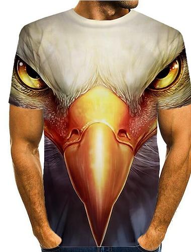 Herre Unisex T-Shirts T-shirt 3D-udskrivning Grafisk -rn Papegøje Dyr Trykt mønster Kortærmet Daglig Toppe Basale Afslappet Rund hals Hvid Blå Rød / Sommer