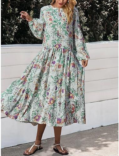 Women\'s A Line Dress Midi Dress White Long Sleeve Floral Print Fall Winter Round Neck Elegant Casual Lantern Sleeve 2021 S M L XL