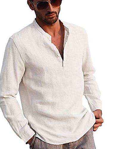 serafino da uomo casual button down manica lunga in cotone orlo irregolare leggero base standard fit top standard