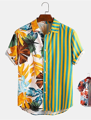 Men's Shirt Other Prints Striped Plants Button-Down Print Short Sleeve Daily Tops Casual Hawaiian Yellow Red / Summer
