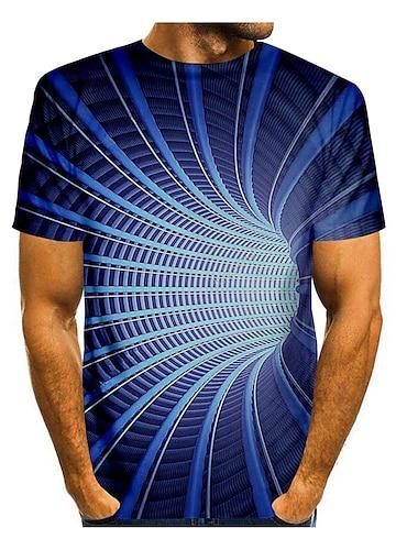 Bărbați Tricou Cămașă Tipărire 3D #D Geometrie #D Imprimeu Manșon scurt Zilnic Topuri Casual Rotund Albastru piscină / Vară