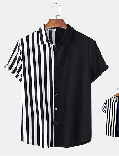 Men\'s Shirt non-printing Striped Button-Down Short Sleeve Daily Tops Casual Hawaiian Blue Black / Summer