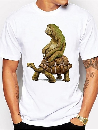 Men\'s Unisex Tee T shirt Shirt Hot Stamping Tortoise Animal Plus Size Print Short Sleeve Daily Tops 100% Cotton Basic Casual Comfortable Big and Tall Round Neck Green and Black White / Green Silver