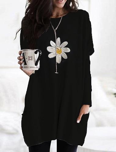 Női Pólóruha Rövid mini ruha Sárga Fekete Bézs Hosszú ujj Virágos Nyomtatott Színes Nyomtatott Ősz Tavasz Kerek Alkalmi Szabadság 2021 S M L XL XXL 3XL