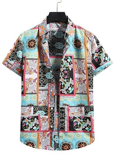 Men\'s Shirt 3D Print Graphic Prints Print Short Sleeve Vacation Tops Button Down Collar Green / Beach