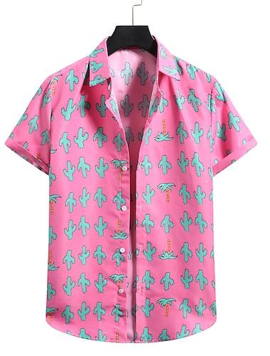Men\'s Shirt 3D Print Graphic Prints Print Short Sleeve Vacation Tops Button Down Collar Blushing Pink / Beach