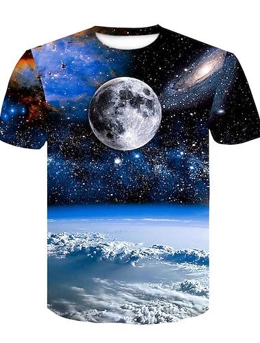 Homens Camiseta Camisa Social Impressao 3D 3D Taxas Com Transparencia Manga Curta Casual Blusas Azul / Verao