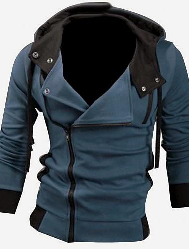 Chaqueta con capucha de manga larga ajustada para hombre gris xxl