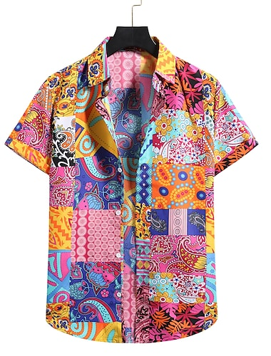 Men\'s Shirt 3D Print Graphic Prints Print Short Sleeve Holiday Tops Lightweight Fashion Breathable Comfortable Button Down Collar Blushing Pink / Beach