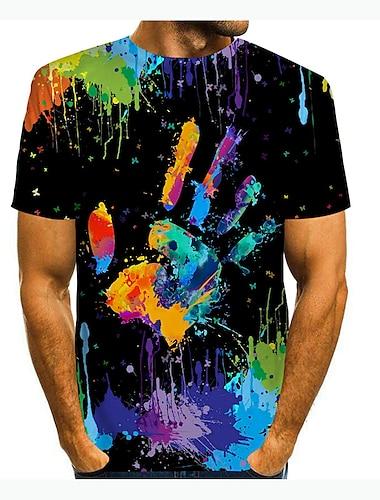 Męskie Podkoszulek Koszula Druk 3D 3D Graffiti 3D Nadruk Krótki rękaw Codzienny Najfatalniejszy Codzienny Moda Okrągły dekolt Czarny / Lato