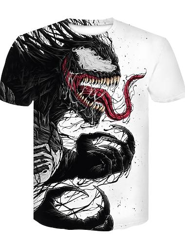 T-shirt Chemise Homme 3D effet 3D Normal 1 pc Rivet Maille Manches Courtes Decontracte Quotidien Standard Elasthanne Polyester Col Ras du Cou / Ete
