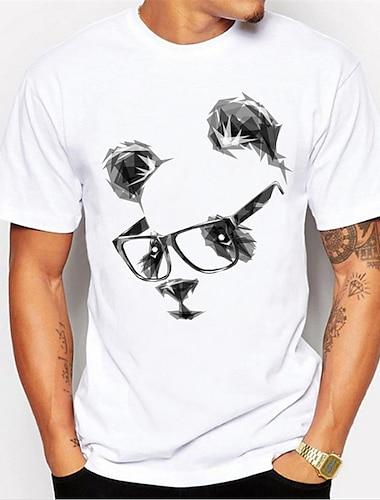 Per uomo Unisex maglietta Stampa a caldo Panda Animali Taglie forti Con stampe Manica corta Quotidiano Top 100% cotone Essenziale Casuale Rotonda Nero / Bianco Giallo Arcobaleno / Estate