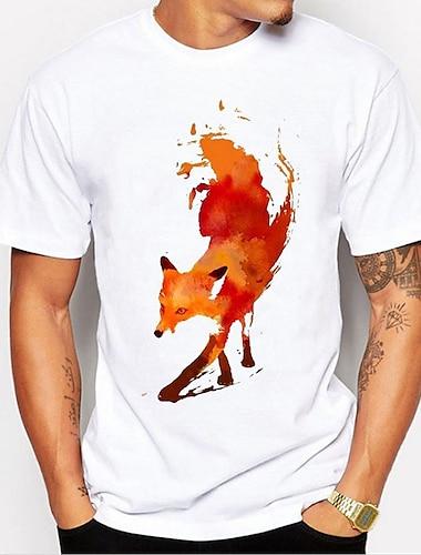 Per uomo Unisex Magliette maglietta Stampa a caldo Astratto Volpe Animali Taglie forti Con stampe Manica corta Quotidiano Top 100% cotone Essenziale Casuale Rotonda Bianco / Estate
