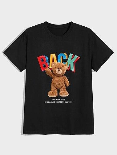 Per uomo Unisex maglietta Stampa a caldo Orso Taglie forti Con stampe Manica corta Casuale Top 100% cotone Casuale Di tendenza Nero