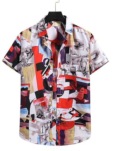 Men\'s Shirt 3D Print Graphic Prints Print Short Sleeve Vacation Tops Button Down Collar White / Beach